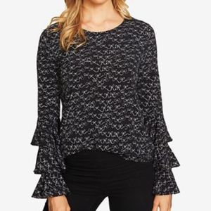 CeCe Squiggly Bow Print Tiered Bell Sleeves Blouse